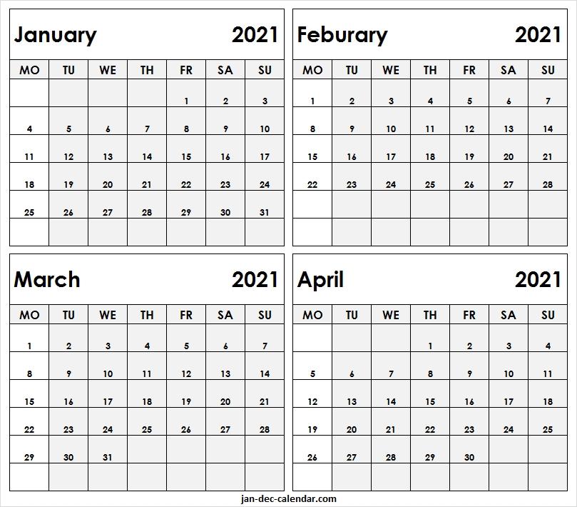 Print January To April 2021 Calendar - Blank Schedule Template January Thru December 2021 Calendar