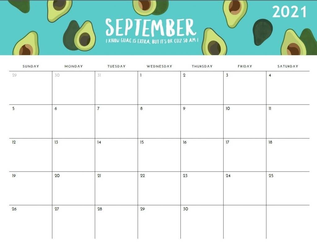 Printable 2021 Monthly Calendar September 2020 To March 2021 Calendar