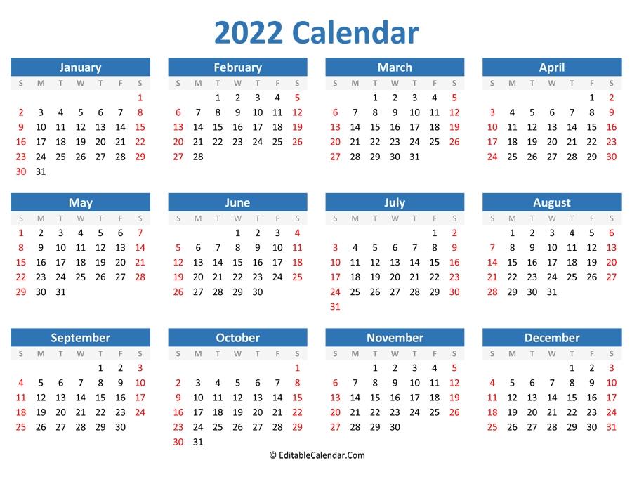 Printable 2022 Calendar (Landscape Orientation) General Blue October 2021 Calendar
