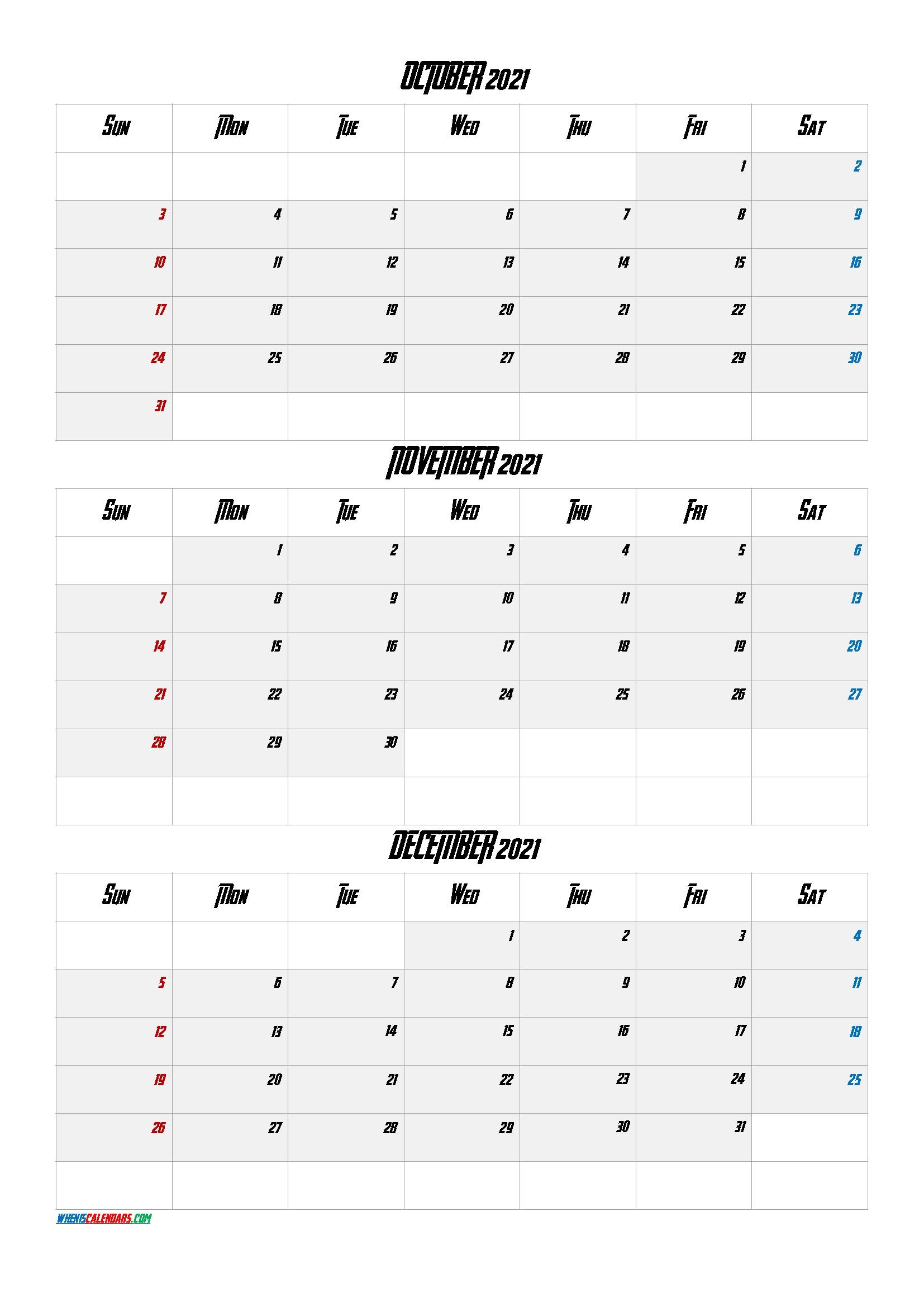 Printable 3 Month Calendar September October November 2021 | Free Printable Calendar September And October 2021 Calendar