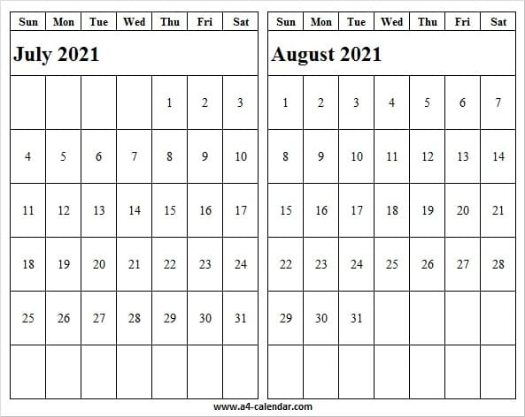 Printable A4 July August 2021 Calendar - A4 Calendar July 2021 Tithi Calendar
