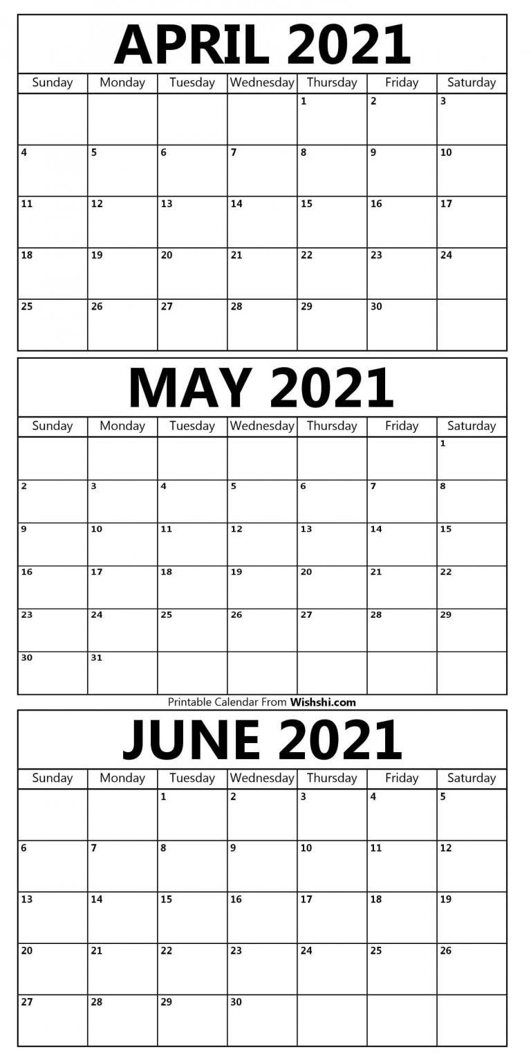 Printable April To June Calendar 2021 - Free Printable Calendars Printable April To June Blank April May June 2021 Calendar