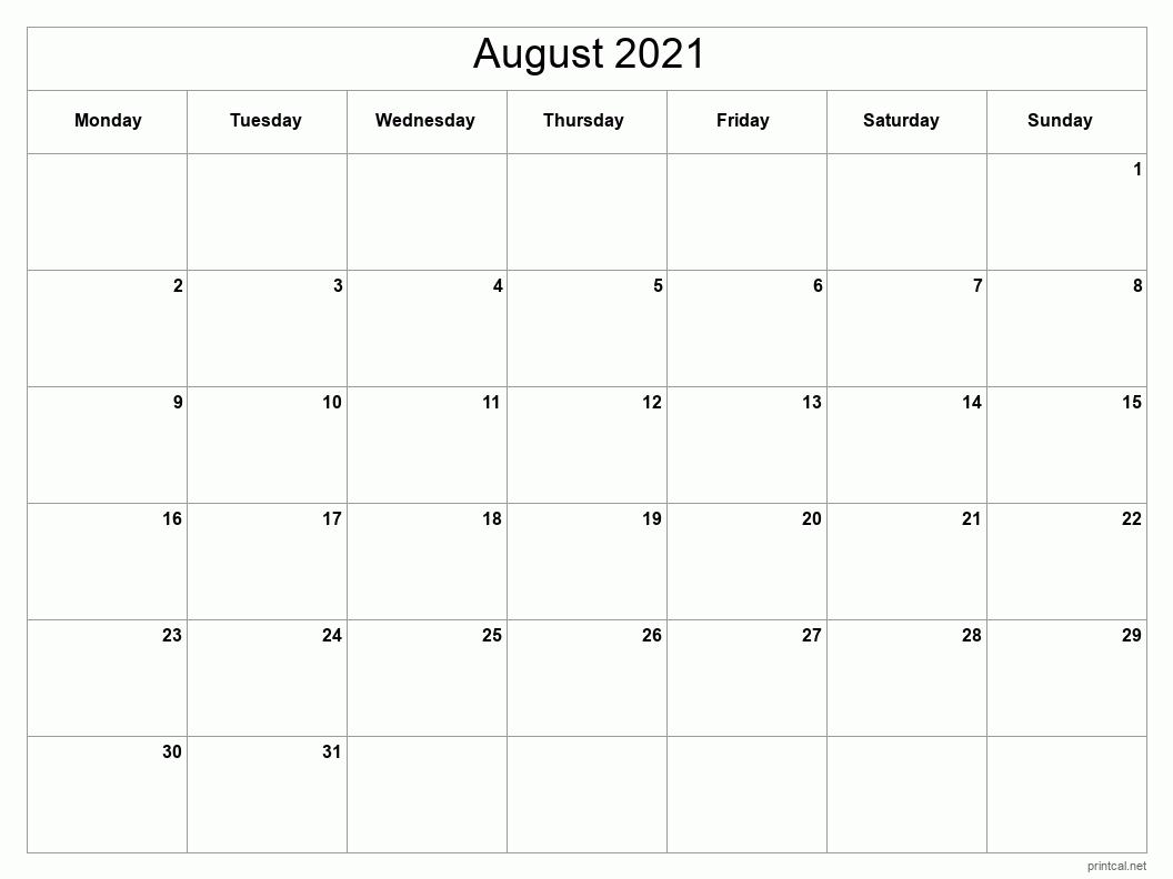 Printable August 2021 Calendar   Free Printable Calendars Blank August 2021 Calendar