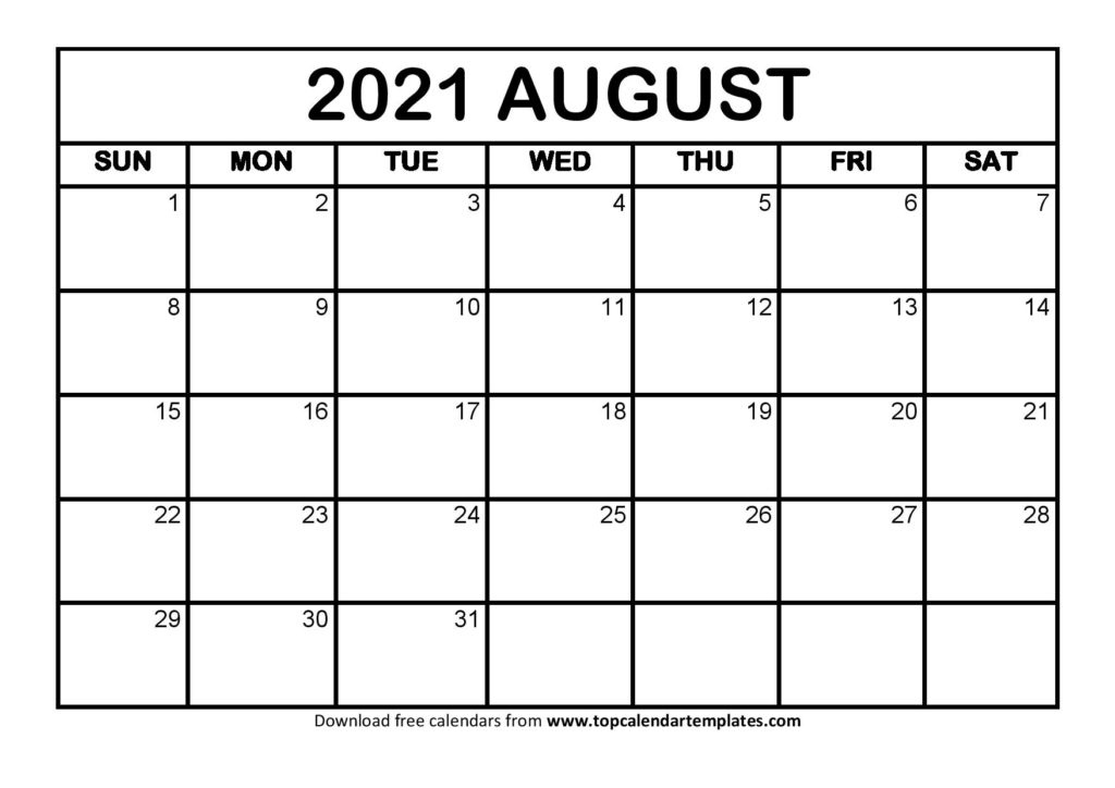Printable August 2021 Calendar Template - Pdf, Word, Excel August 2021 Calendar With Holidays Usa