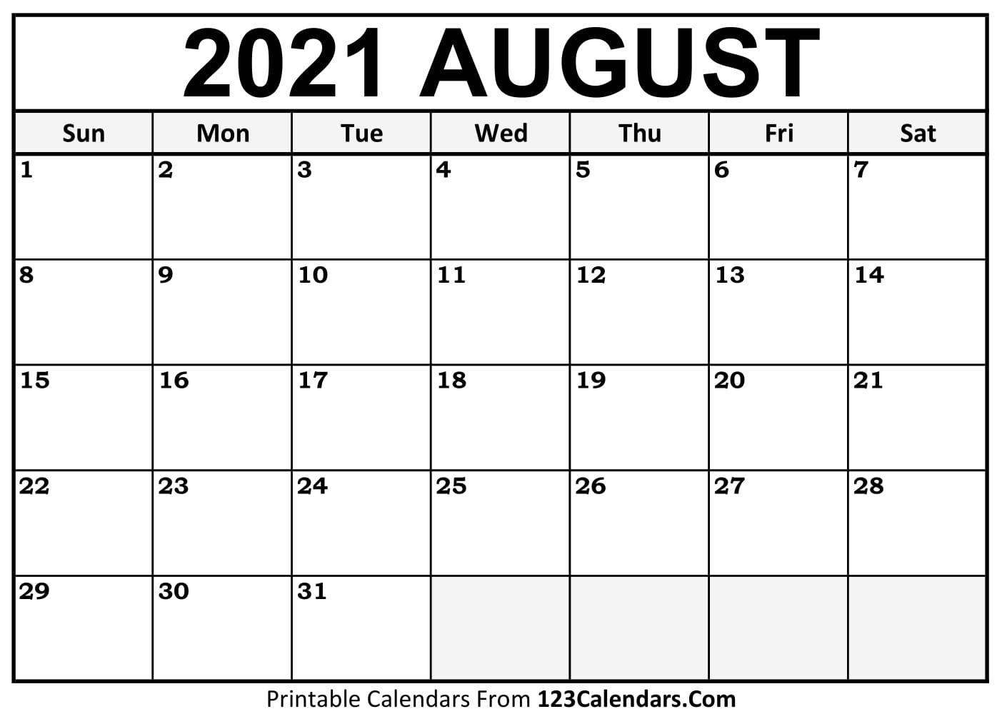 Printable August 2021 Calendar Templates | 123Calendars August 2021 Blank Calendar Printable