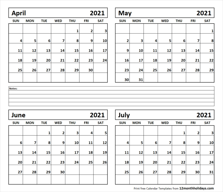 Printable Blank Four Month April May June July 2021 Calendar Template Blank April May June 2021 Calendar