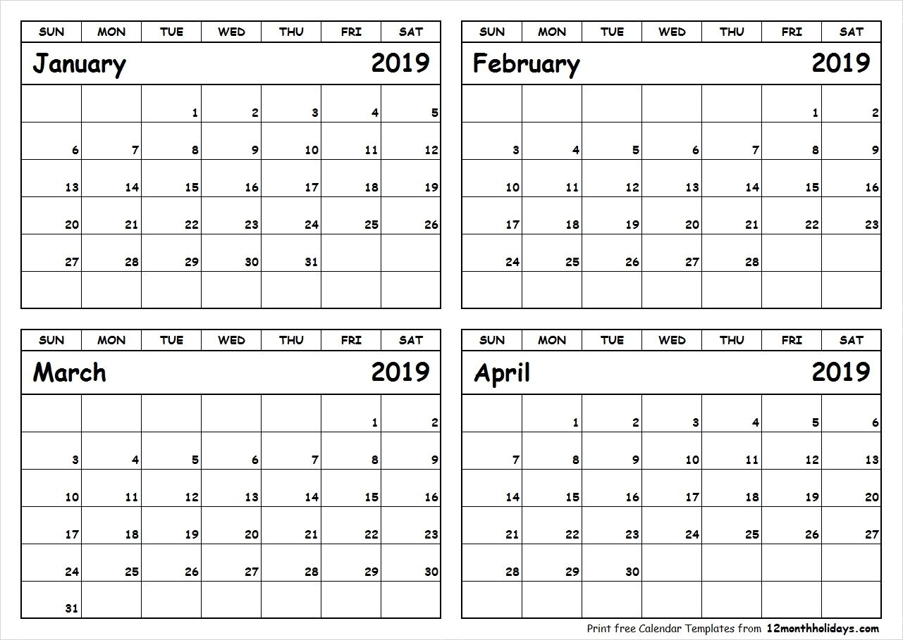 Printable Blank Four Month January February March April 2019 Calendar   September Calendar Wiki Calendar August 2021
