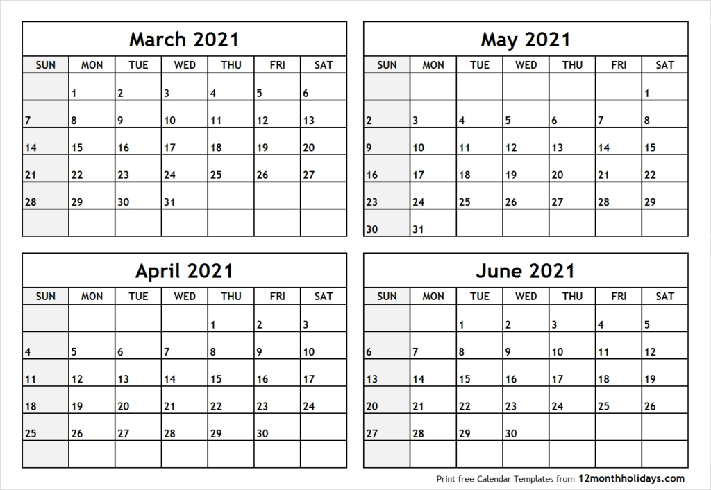 Printable Blank Four Month March April May June 2021 Calendar Template Blank April May June 2021 Calendar