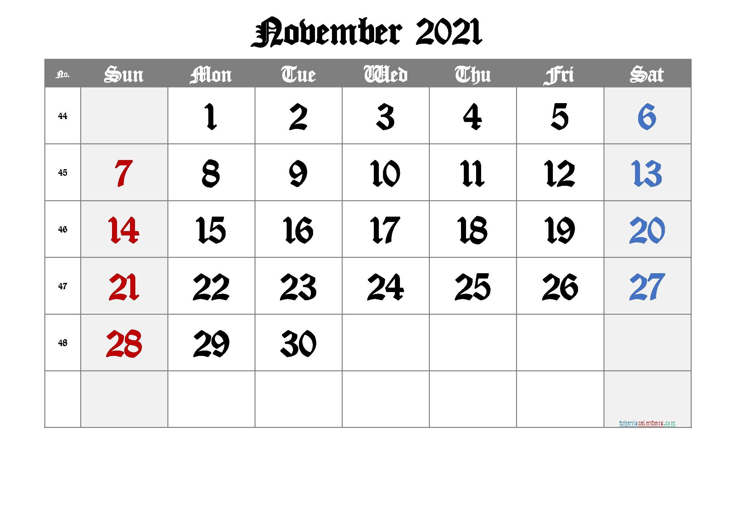 Printable Calendar 2021 November | Free Printable 2020 Calendar With Holidays Free Printable November 2021 Calendar With Holidays