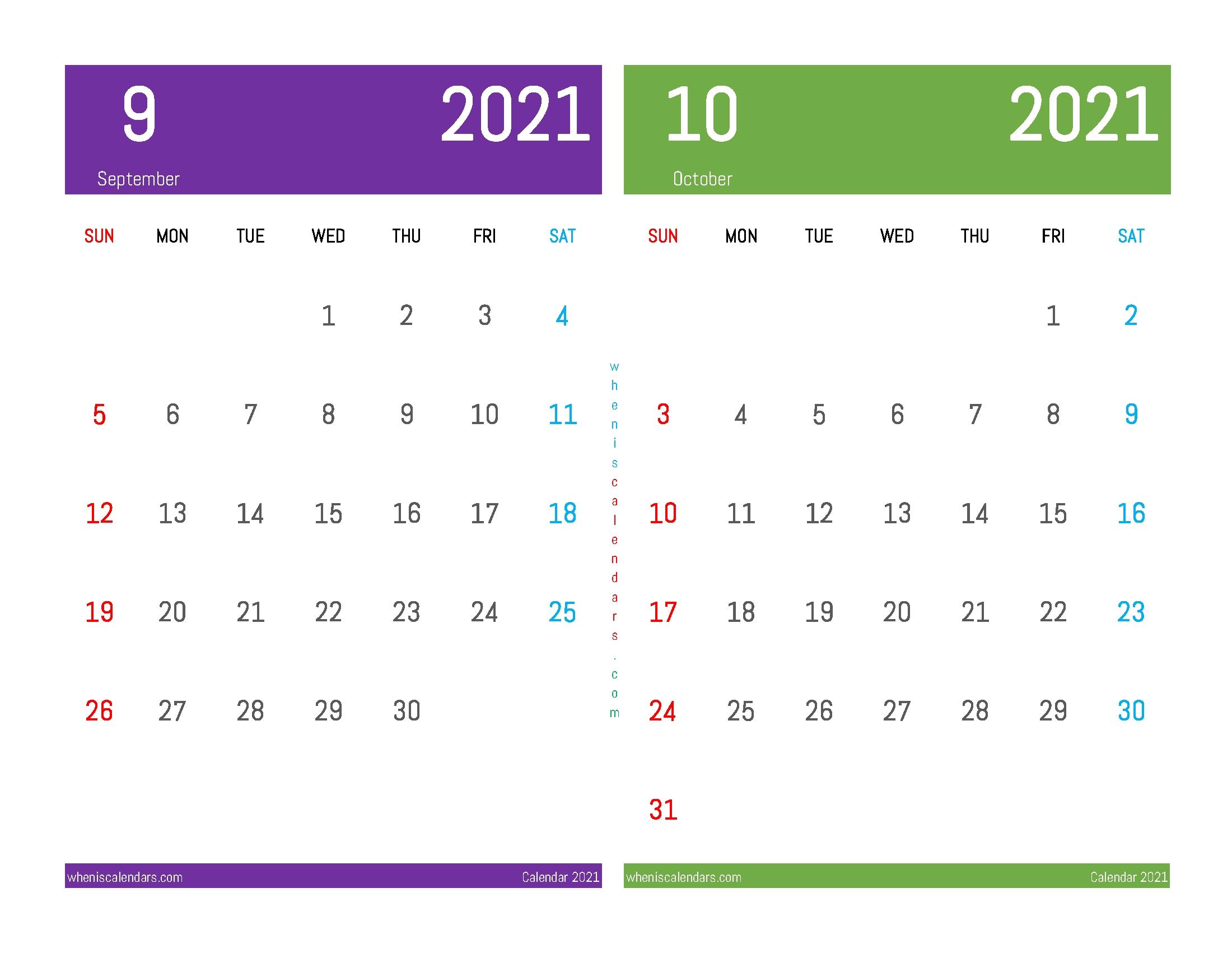Printable Calendar 2021 September October (12 Templates) October 2020 - September 2021 Calendar