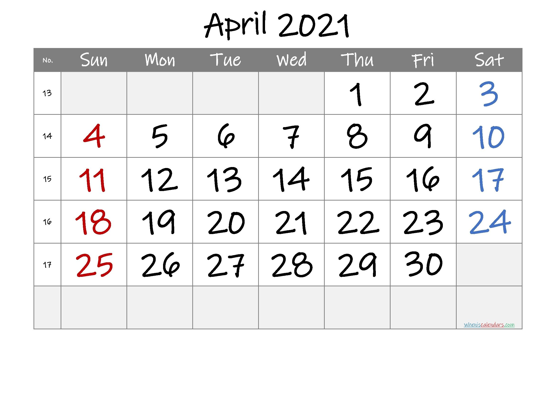 Printable Calendar April 2021 - 6 Templates   Free Printable 2020 Monthly Calendar With Holidays Calendar November 2020 To April 2021
