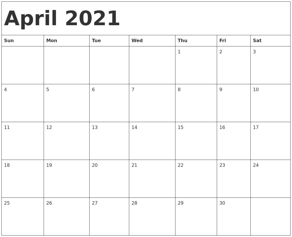 Printable Calendar April 2021 Di 2020 Blank April May June 2021 Calendar