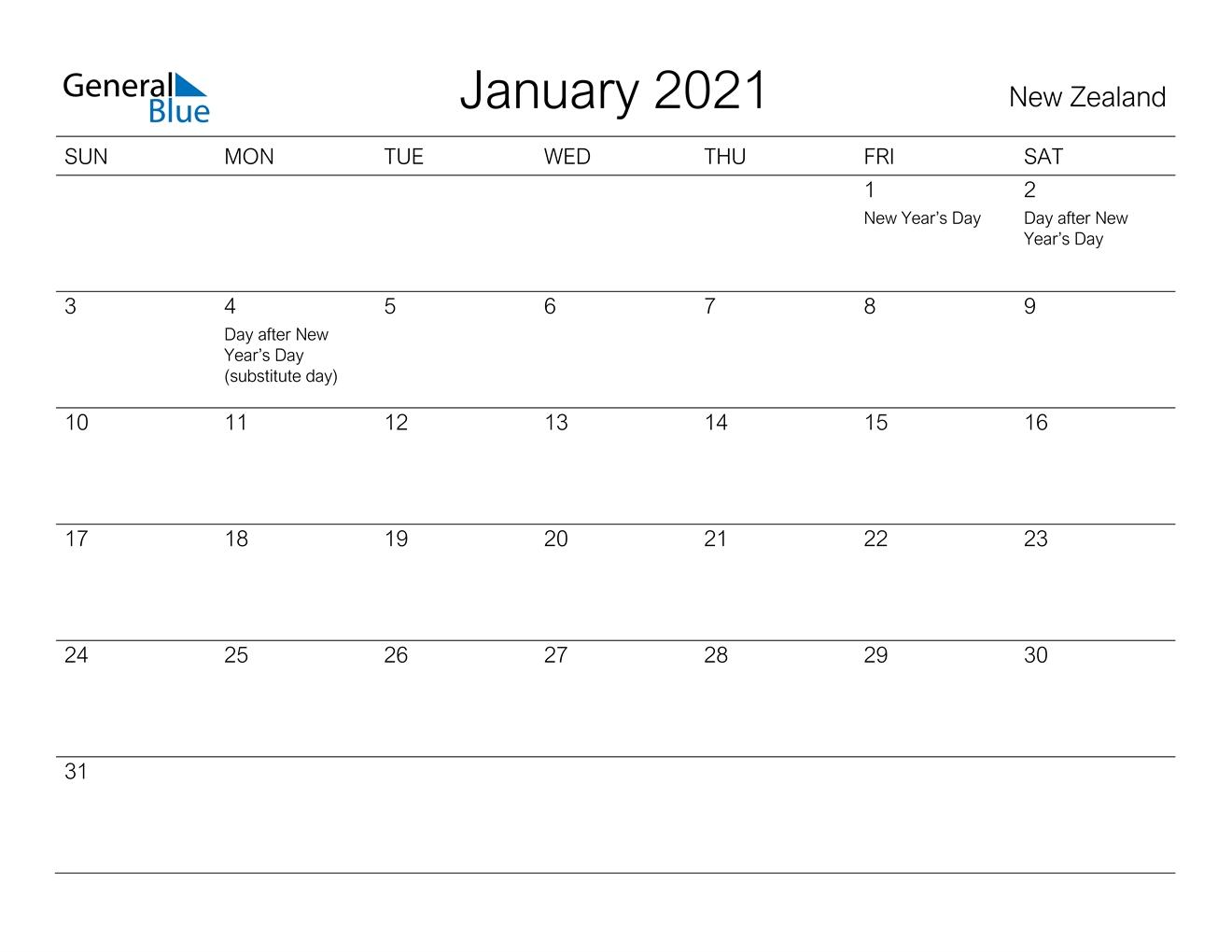 Printable Calendar January 2021 Nz   Free Printable Calendar August 2021 Calendar Nz