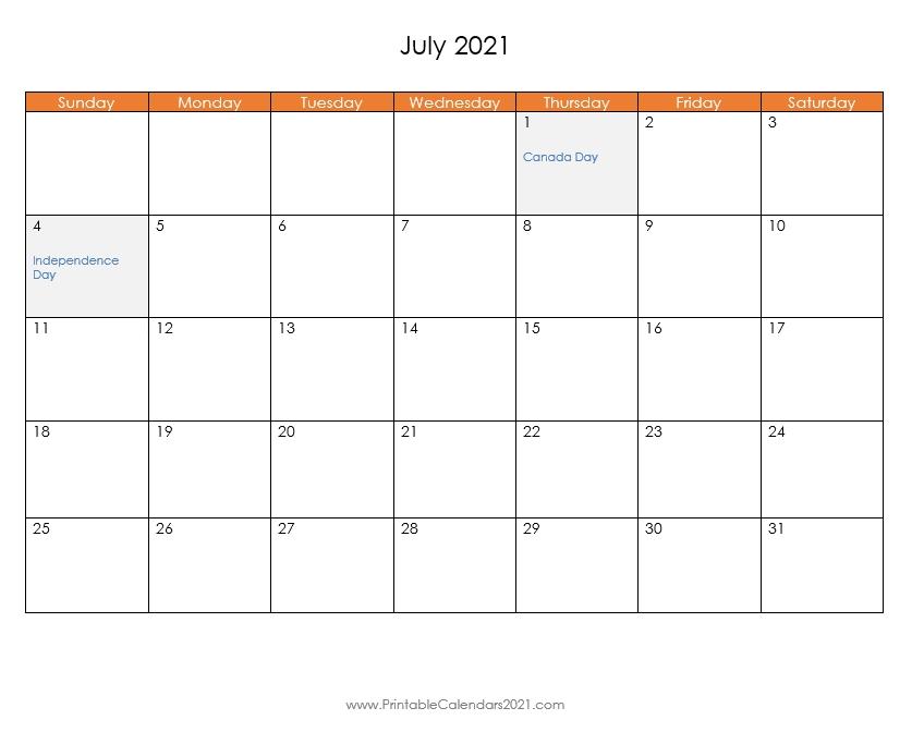 Printable Calendar July 2021, Printable 2021 Calendar With Holidays July 2021 Calendar Pdf Download