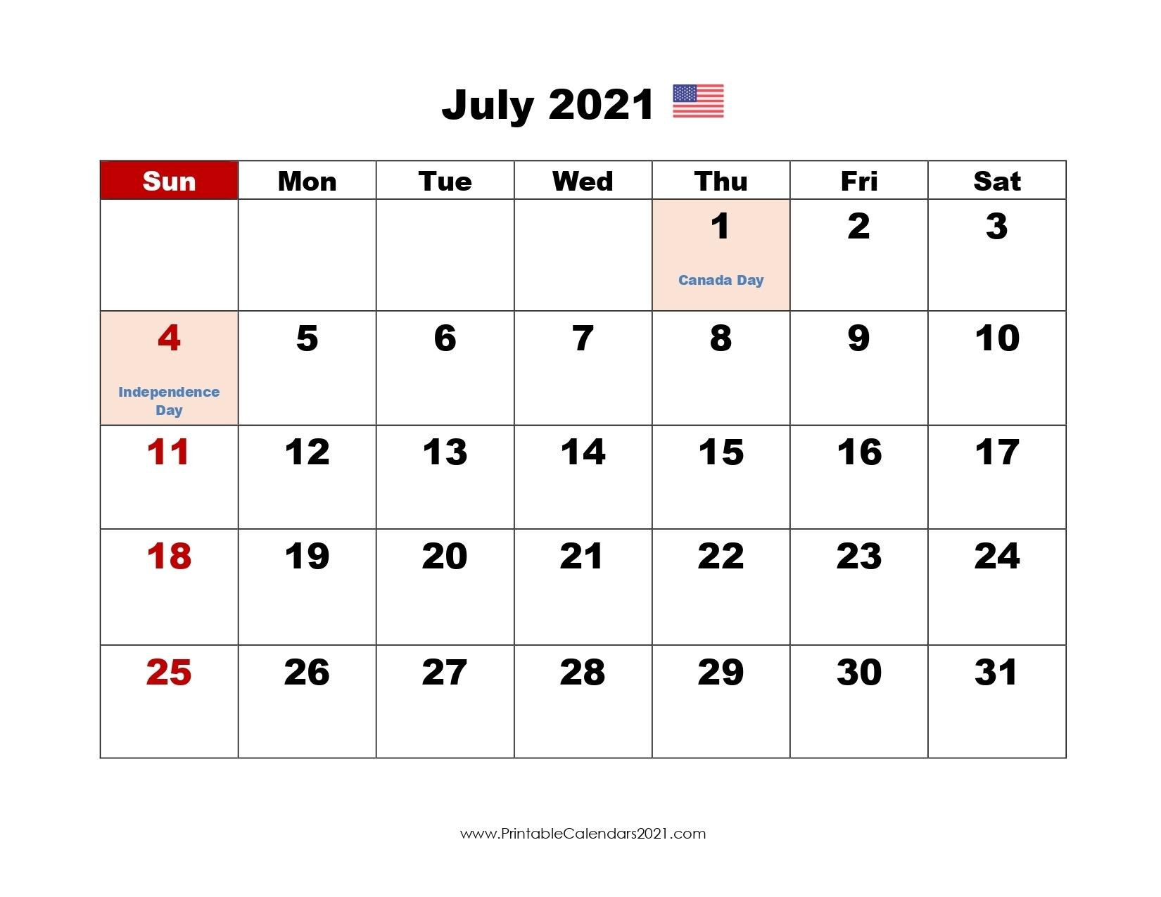 Printable Calendar July 2021, Printable 2021 Calendar With Holidays Printable July And August 2021 Calendar