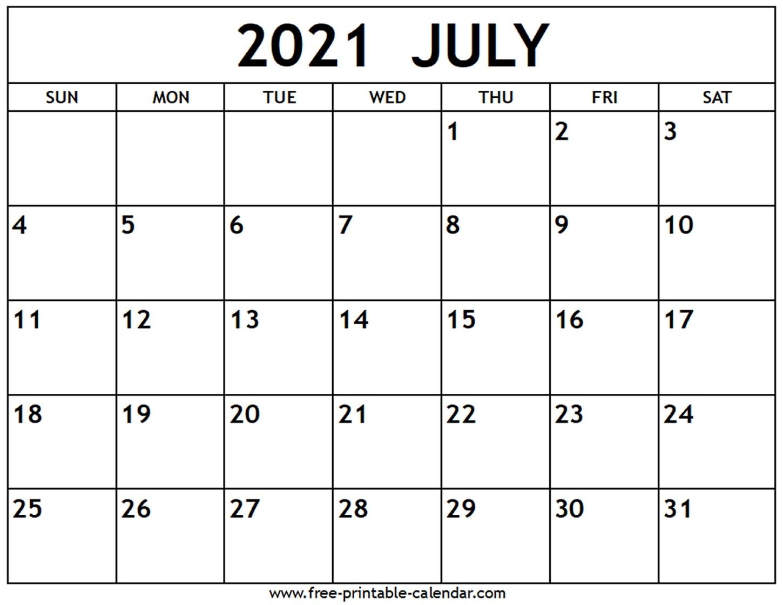Printable Calendar July 2021 To June 2021 | 2021 Printable Calendars July 2021 Islamic Calendar