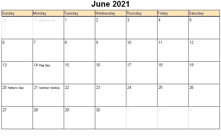Printable Calendar June 2021   Calvert Giving Editable June 2021 Calendar