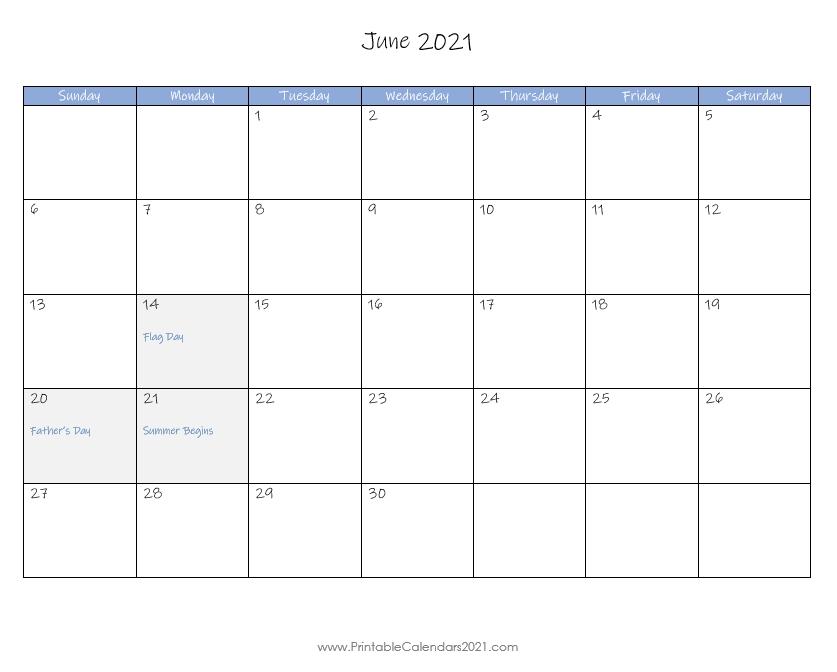 Printable Calendar June 2021, Printable 2021 Calendar With Holidays June 2021 Calendar In Excel
