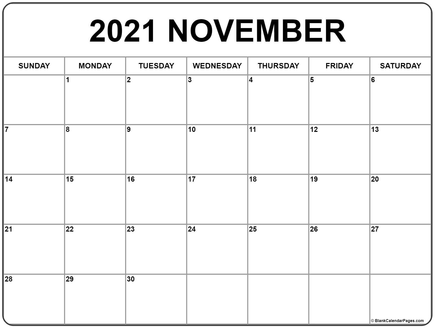 Printable Calendar Nov 2021 - United States Map November 2021 Calendar Starting Monday
