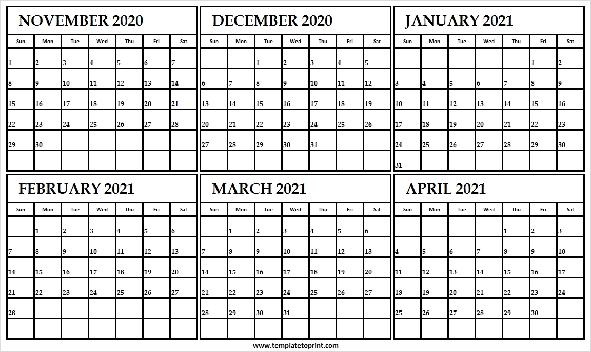 Printable Calendar November 2020 To April 2021 - Six Month Calendar Calendar November 2020 To April 2021