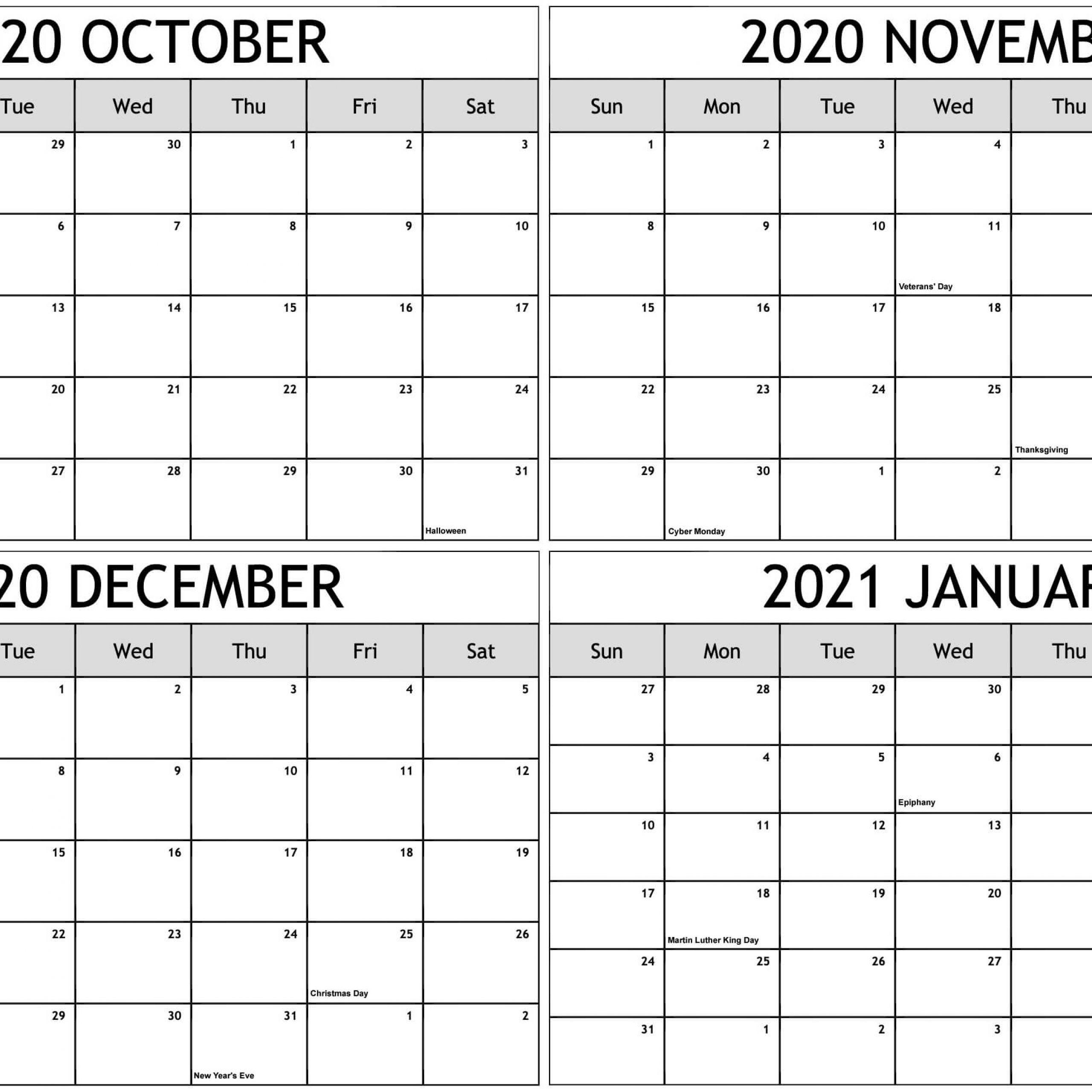 Printable Calendar October 2020 To December 2021   Free Printable Calendar October 2020 To February 2021 Calendar