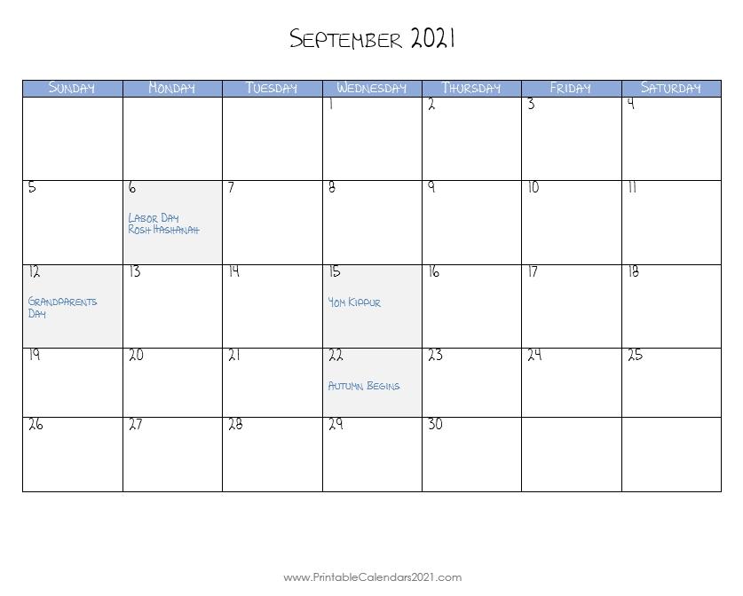Printable Calendar September 2021, Printable 2021 Calendar With Holidays September 2021 Calendar Image