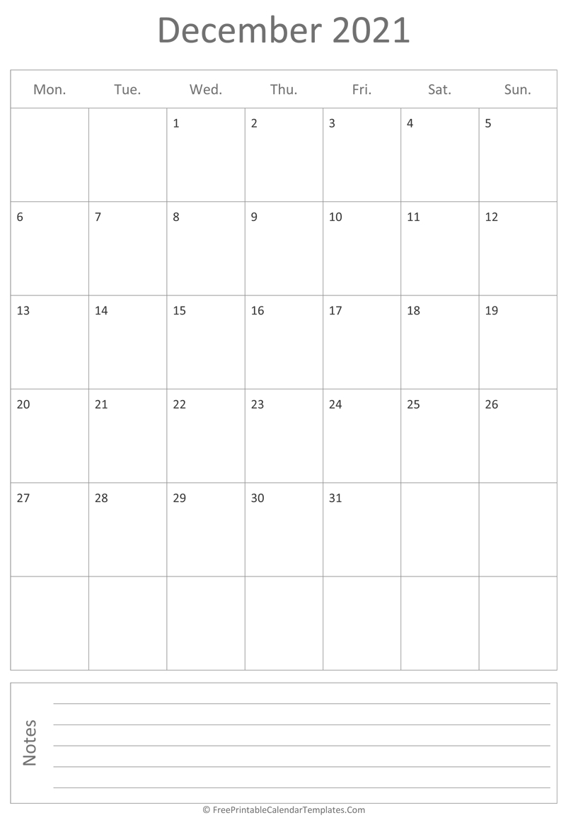 Printable December Calendar 2021 (Vertical) December 2021 And January 2022 Calendar