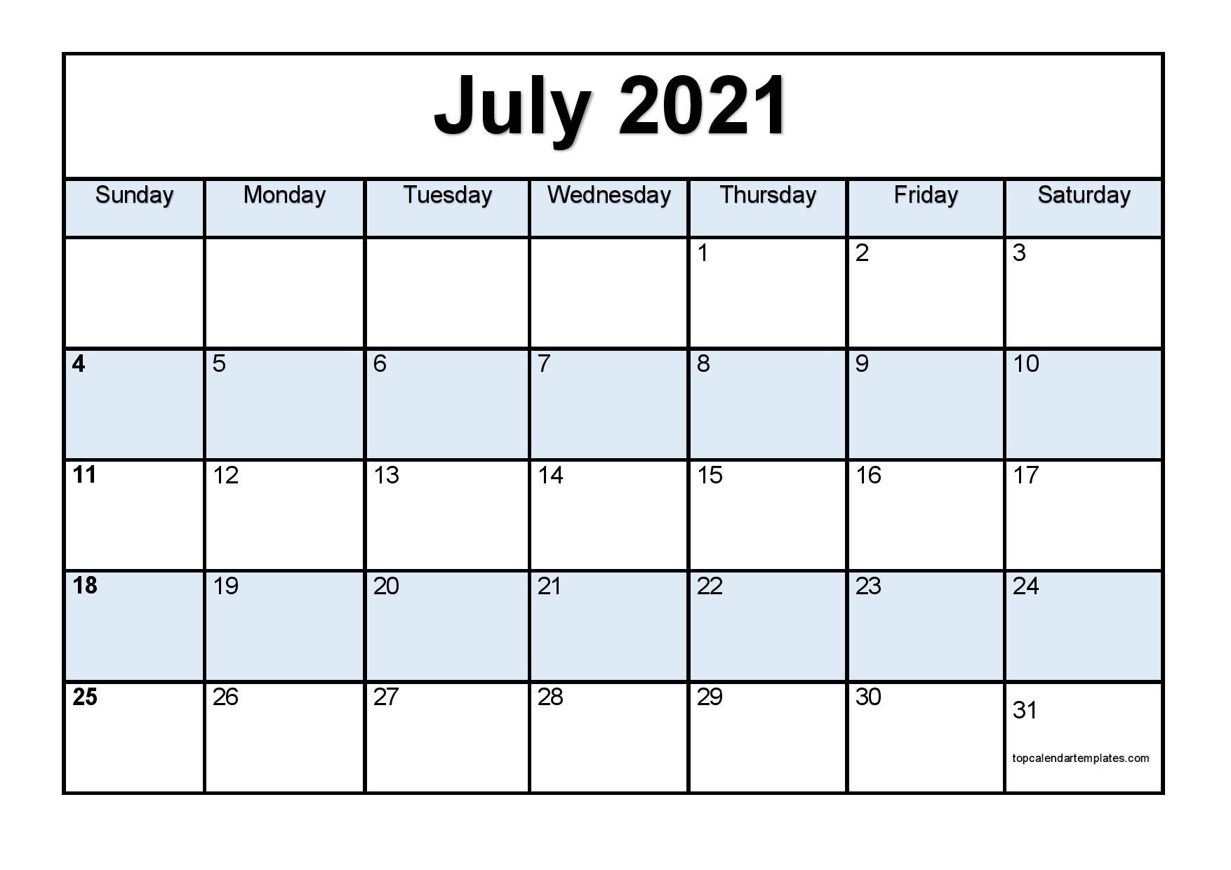 Printable July 2021 Calendar Template - Pdf, Word, Excel July 2021 Calendar Pdf Download