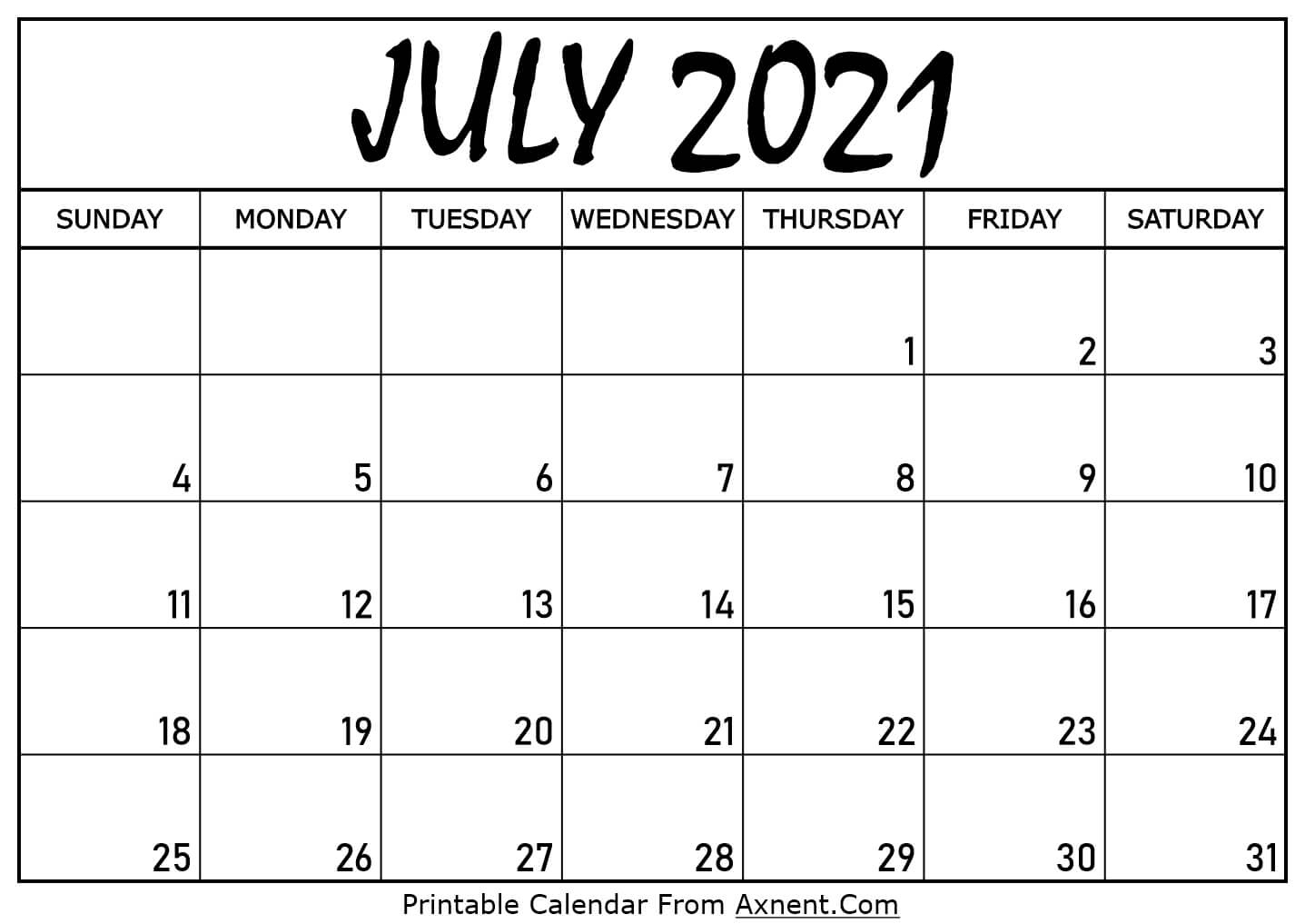 Printable July 2021 Calendar Template - Time Management Tools Printable July 2021 Calendar Template Printable July And August 2021 Calendar