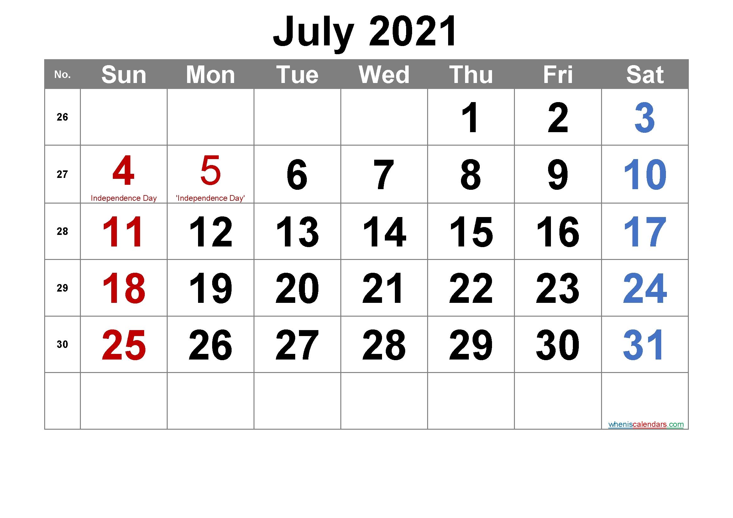 Printable July 2021 Calendar With Holidays - Calendarex July 2021 Calendar Portrait