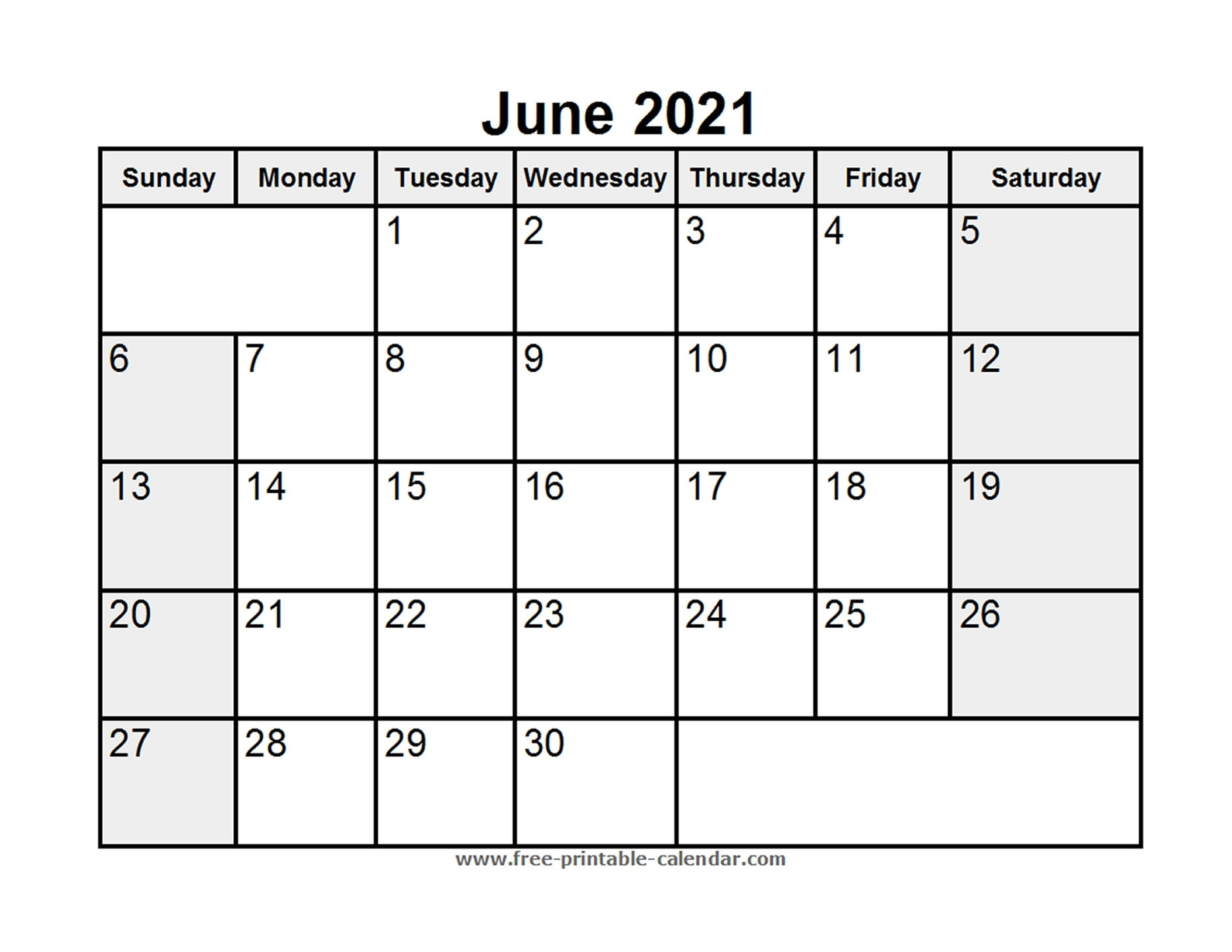 Printable June 2021 Calendar - Free-Printable-Calendar June 2020 To June 2021 Calendar Printable