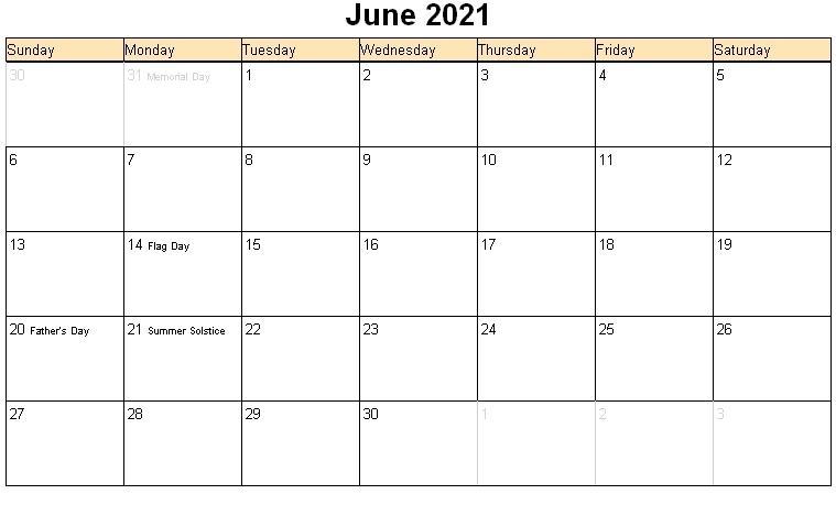 Printable June 2021 Calendar Template - Pdf, Word, Excel June 2021 Calendar Panchang