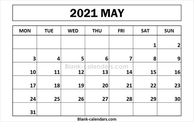 Printable May 2021 Calendar Monday Start In 2020 | Calendar 2020, 2021 Calendar, Calendar Template September 2021 Calendar Printable Wiki