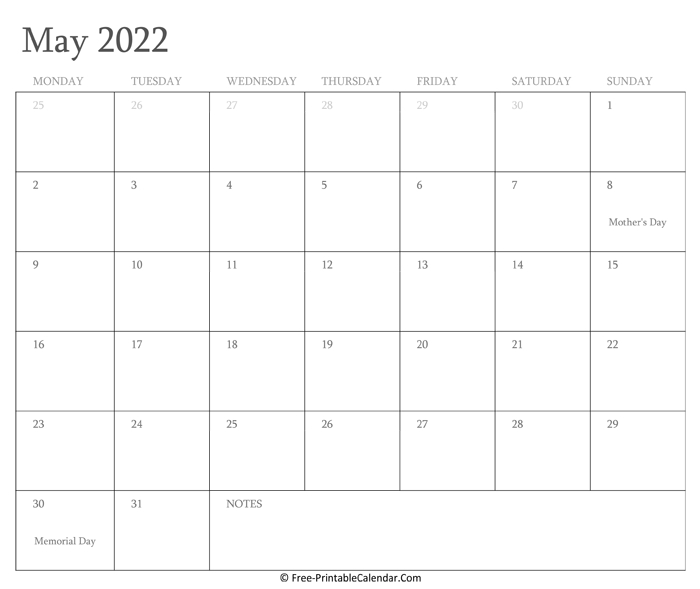 Printable May Calendar 2022 With Holidays June 2021 Calendar Copy And Paste