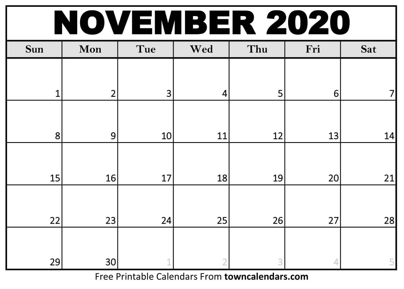 Printable November 2020 Calendar - Towncalendars November 2020 - March 2021 Calendar