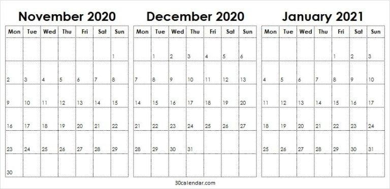 Printable November 2020 To January 2021 Calendar - Pinterest November December 2020 January 2021 Calendar