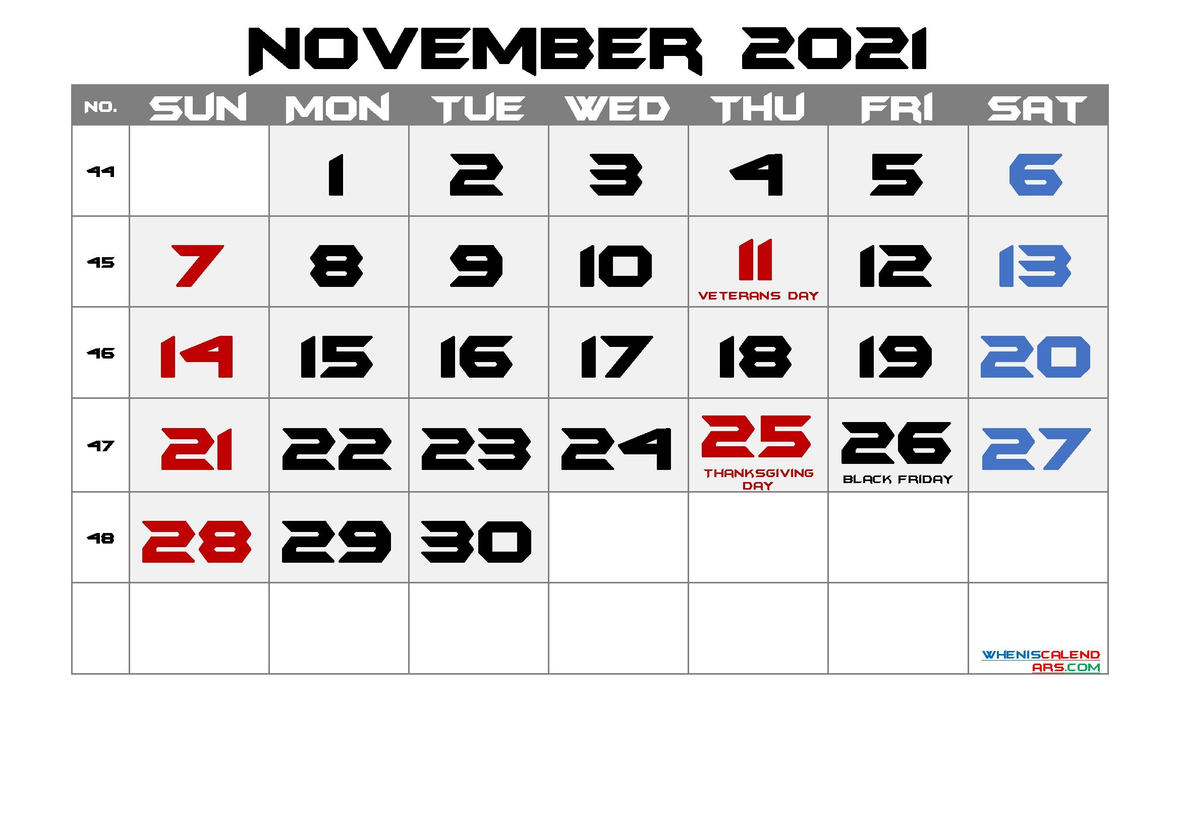 Printable November 2021 Calendar With Holidays | Free Printable 2020 Calendar With Holidays Free Printable November 2021 Calendar With Holidays