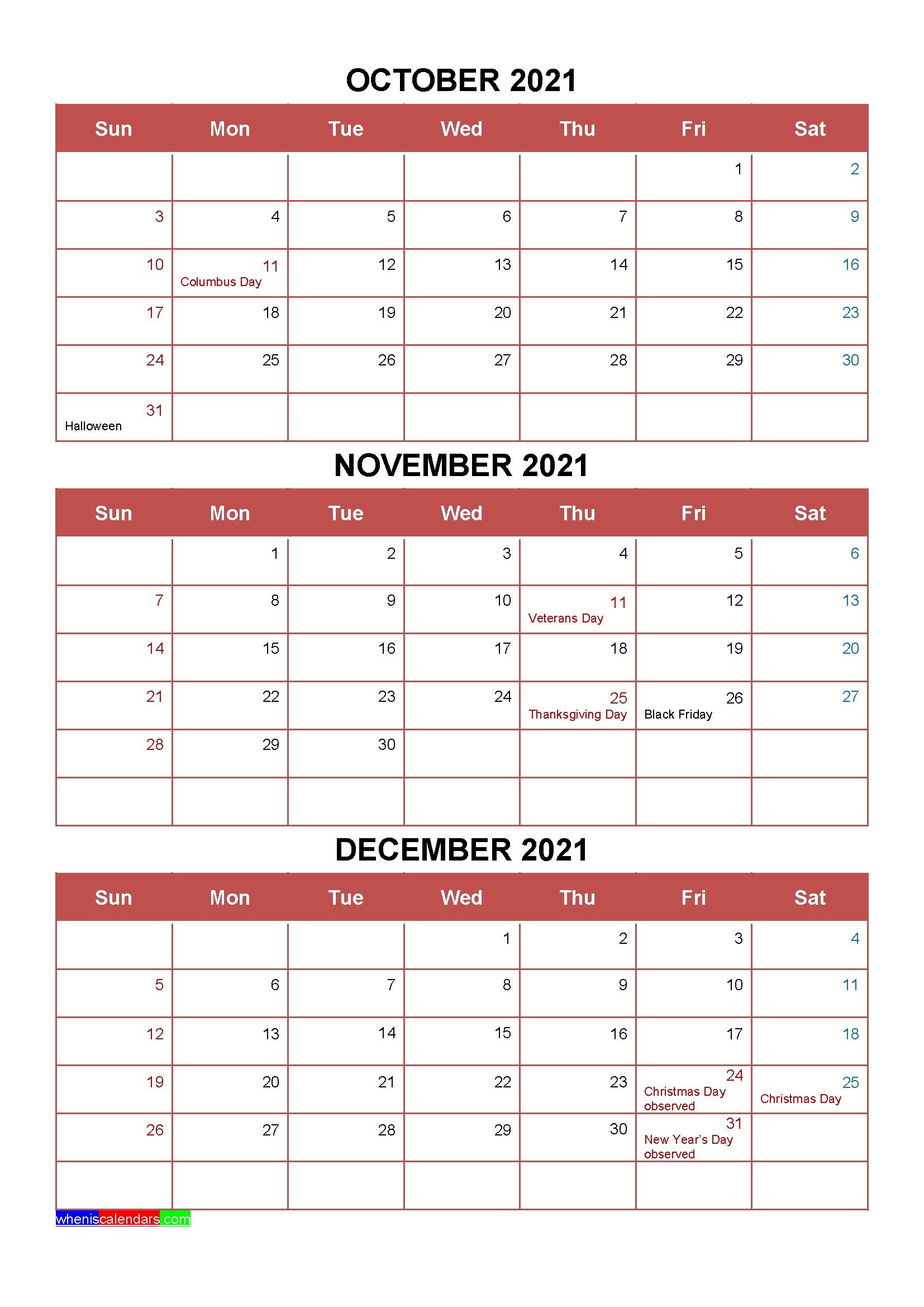 Printable October November December 2021 Calendar Template Word, Pdf November December 2020 January 2021 Calendar