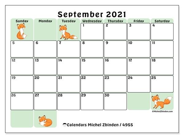 """Printable September 2021 """"49Ss"""" Calendar - Michel Zbinden En Calendar May To September 2021"""
