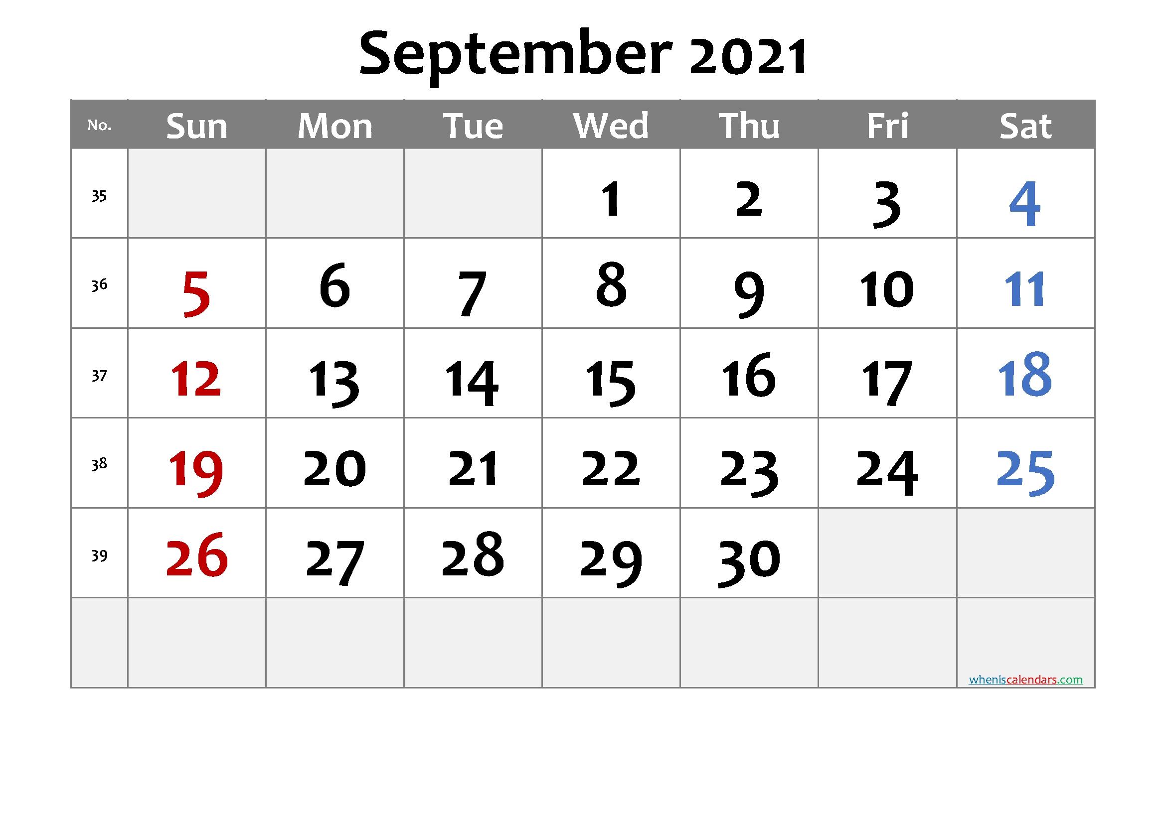 Printable September 2021 Calendar - 6 Templates | Free Printable 2020 Monthly Calendar With Holidays September 2021 Calendar With Holidays Printable