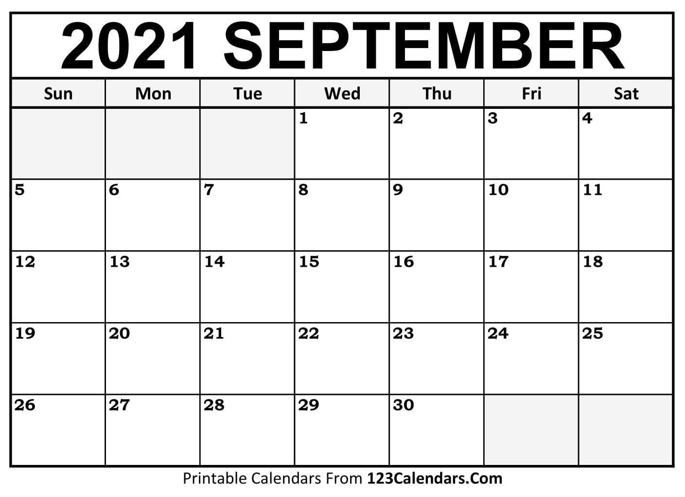 Printable September 2021 Calendar Templates | 123Calendars Printable September 2021 Calendar