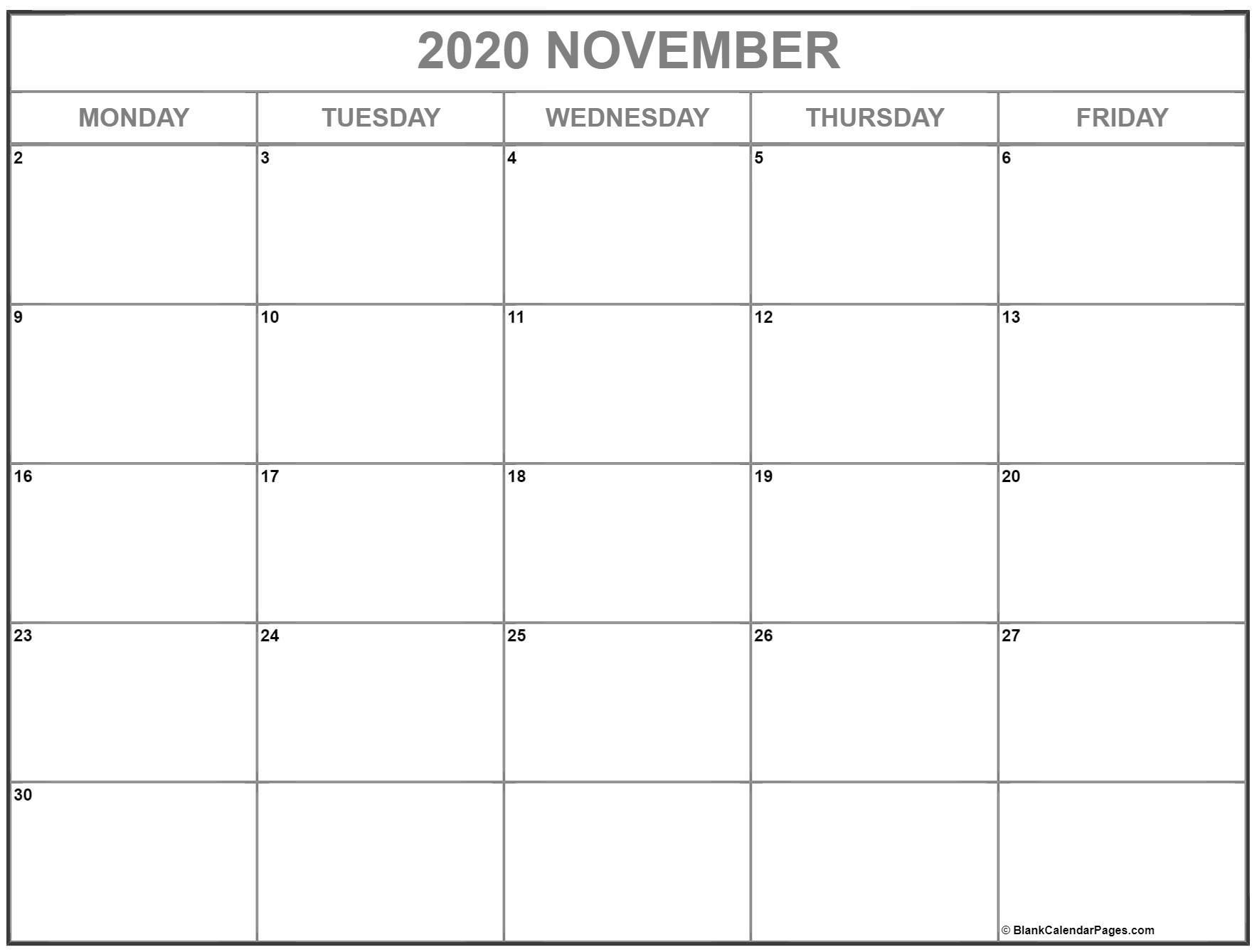 Printable Weekly Calendar Monday Through Friday | Ten Free Printable Calendar 2020-2021 November 2021 Calendar Starting Monday