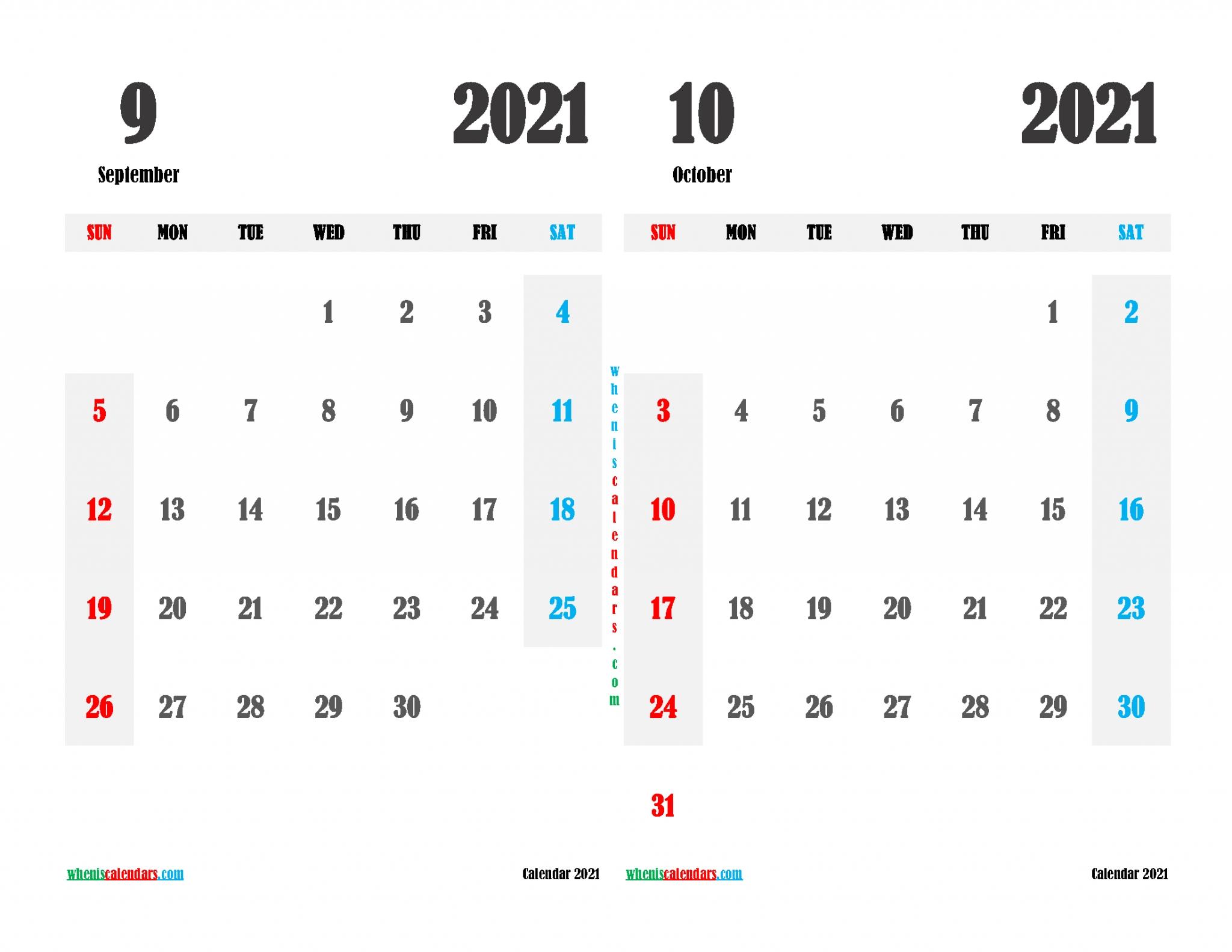 Sep And Oct 2021 Calendar Printable September And October 2021 Calendar