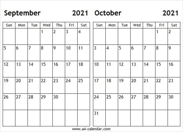 Sep Oct 2021 Calendar A4 Size - Blank September 2021 Template September And October 2021 Calendar