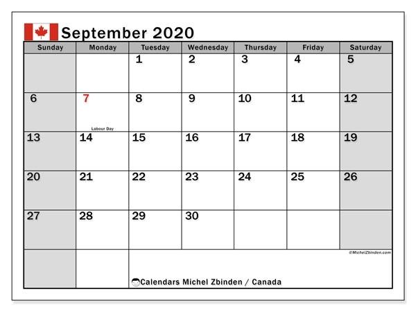 September 2020 Calendar, Canada - Michel Zbinden En September 2020 To March 2021 Calendar