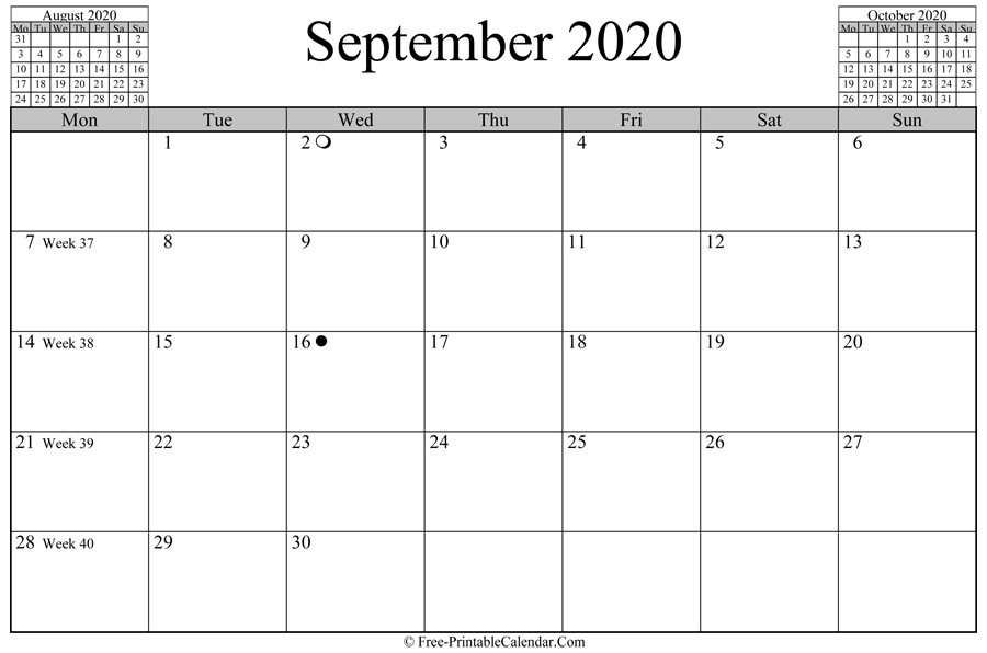 September 2020 Calendar (Horizontal Layout) September 2020 To September 2021 Calendar