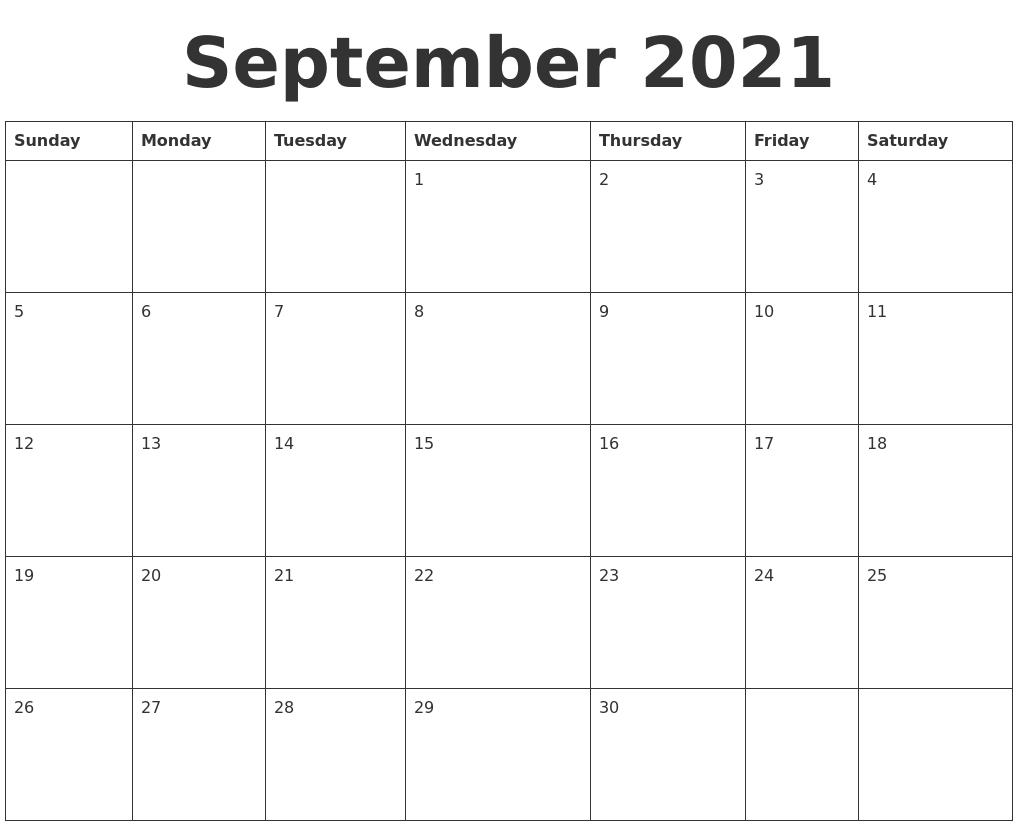 September 2021 Blank Calendar Template September 2021 Calendar Starting Monday