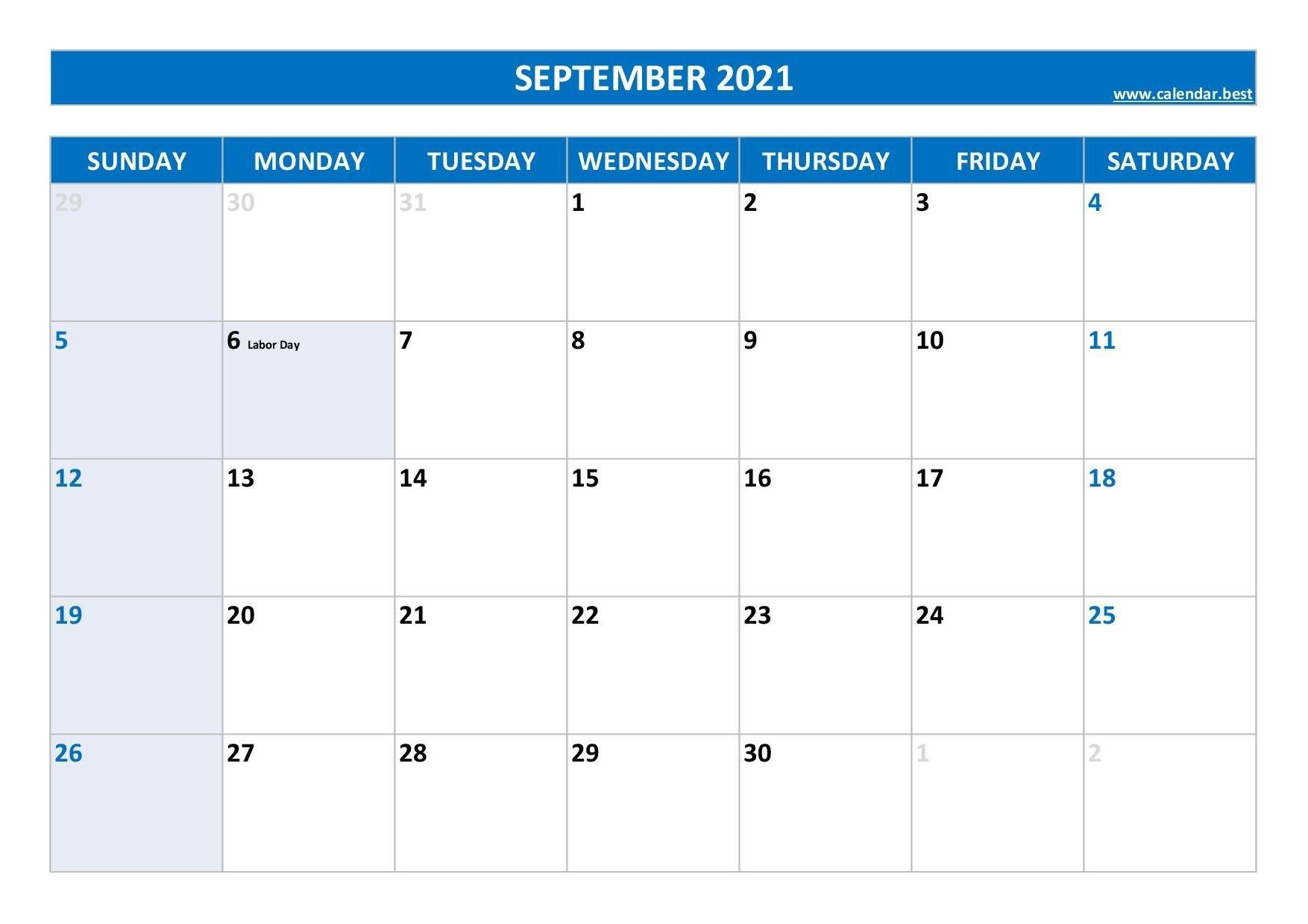September 2021 Calendar -Calendar.best September 2021 Calendar With Holidays Printable
