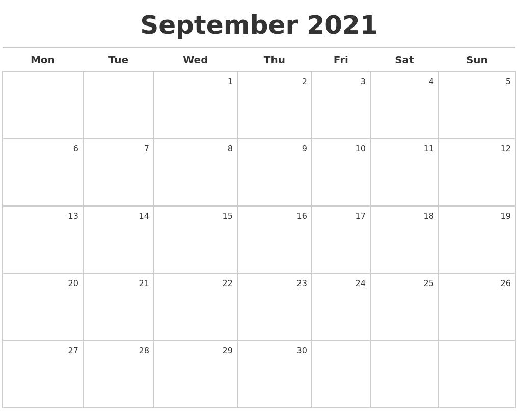 September 2021 Calendar Maker September 2021 Calendar Starting Monday