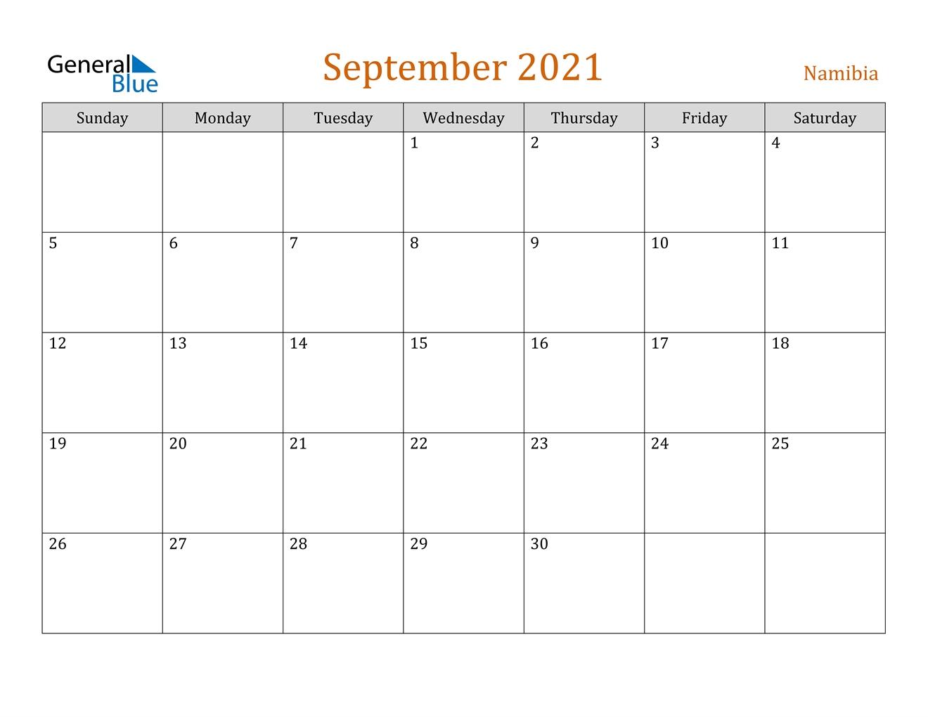 September 2021 Calendar - Namibia Calendar May To September 2021